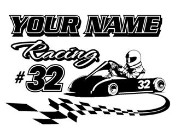 Personalized Go Kart Racing 3 Decal Sticker