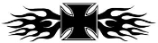 Maltese Cross with Flames Decal Sticker