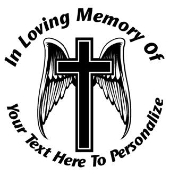 Memorial Cross with Wings Decal Sticker