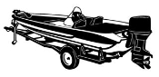 Bass Boat on Trailer Decal Sticker