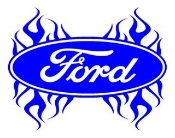 Ford Oval with Flames 4 Decal Sticker