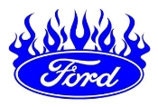 Ford Oval with Flames 3 Decal Sticker