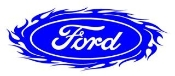 Ford Oval with Flames v1 Decal Sticker