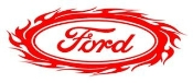 Ford Oval with Flames 2 Decal Sticker