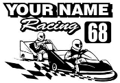 Personalized Go Kart Racing v9 Decal Sticker