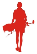 Female Golfer Silhouette v3  Decal Sticker