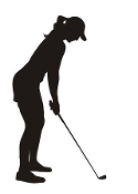 Female Golfer Silhouette Decal Sticker