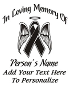Memorial with Ribbon and Angel Wings Decal Sticker