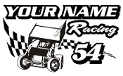 Personalized Sprint Car Racing v6 Decal Sticker