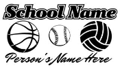 Personalized Basketball-Softball-Volleyball  Decal Sticker