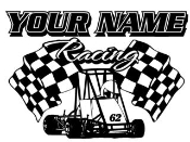 Personalized Quarter Midget Racing v1 Decal Sticker
