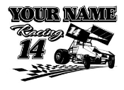 Personalized Sprint Car Racing v1 Decal Sticker