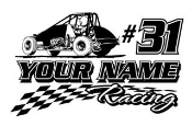 Personalized Wingless Sprint Car Racing v1 Decal Sticker