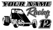 Personalized Wingless Sprint Car Racing v2 Decal Sticker