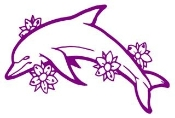 Dolphin with Flowers Decal Sticker