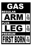 Gas Price Cost Arm and Leg Decal Sticker