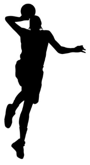 Dunking Basketball Silhouette v1 Decal Sticker