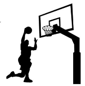 Basketball Layup with Hoop Decal Sticker