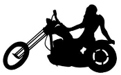 Girl on Chopper Silhouette Decal Sticker