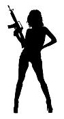 Girl with Gun Decal Sticker