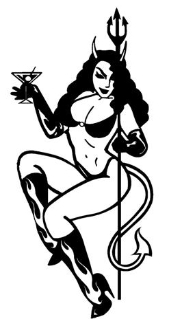 Devil Girl with Martini Decal Sticker