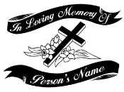 Memorial with Cross v2 Decal Sticker
