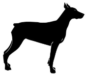 Doberman Silhouette Decal Sticker