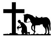 Cowboy Kneeling at Cross v2 Decal Sticker