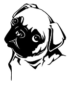 Pug Head Decal Sticker