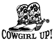 Cowgirl Up with Boots Decal Sticker