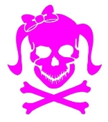 Girly Skull v1 Decal Sticker