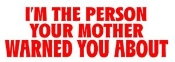 I'm The Person Your Mother Warned You About Decal Sticker