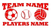 Personalized Soccer-Softball-Volleyball 2 Decal Sticker