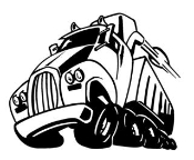 Semi Truck Cartoon Decal Sticker