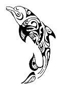 Tribal Dolphin v2 Decal Sticker