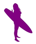 Surfer Girl Silhouette v2 Decal Sticker