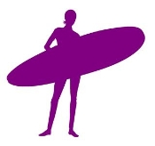 Surfer Girl Silhouette v6 Decal Sticker