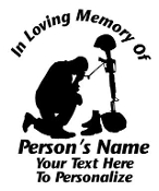 Military Fallen Soldier Memorial v2 Decal Sticker