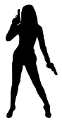 Girl with Pistols Silhouette Decal Sticker