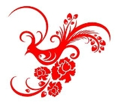Floral Design with Bird v2 Decal Sticker