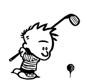 Calvin Golfing Decal Sticker