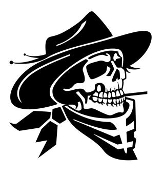 Cowboy Western Skull v4 Decal Sticker