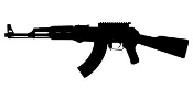 AK47 Machine Gun Silhouette v3 Decal Sticker