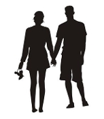 Couple Silhouette v2 Decal Sticker