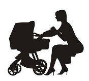 Mother and Baby Stroller Silhouette v1 Decal Sticker