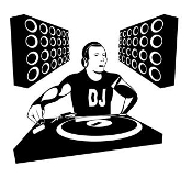 DJ at Turn Table Decal Sticker