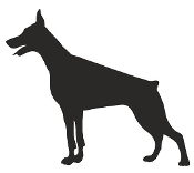 Doberman Silhouette v2 Decal Sticker