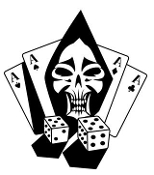 Evil Gambler Skull Decal Sticker