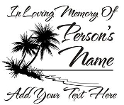 Memorial with Palm Trees Decal