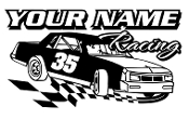 Personalized Stock Car Racing v1 Decal Sticker